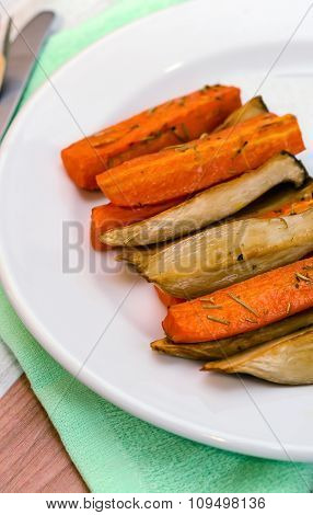 Baked carrots and mushrooms