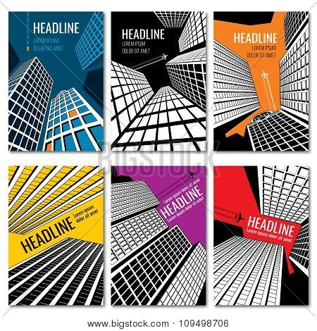 Skyscrapers and urban landscape design. Business brochure vector templates set