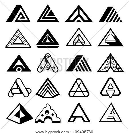 Triangle shapes for A letter logo and monogram. Abstract geometric vector elements