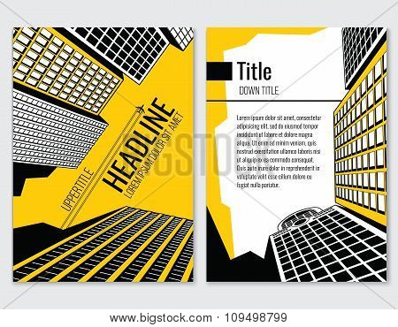 Business brochure vector template for architectural and construction company