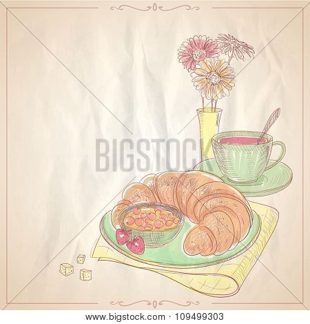 Hand drawn illustration of a breakfast with croissant, jam  and cup of fruit tea.