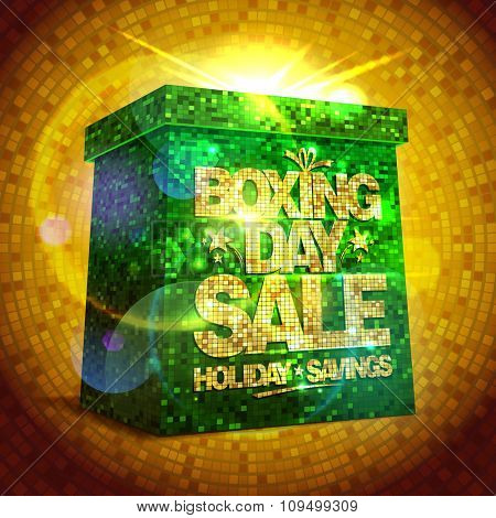 Rich poster - Boxing day sale with green shiny gift box against gold mosaic backdrop.