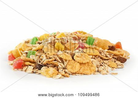 Muesli With Dried Fruit And Candied Fruit On A White Background.