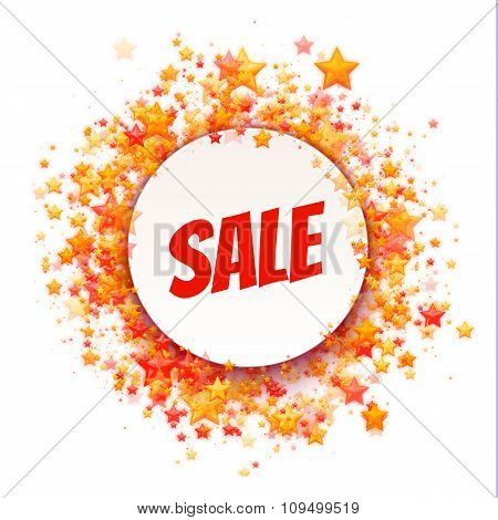 Rounded banner with Sale label. Stars. Vector illustration