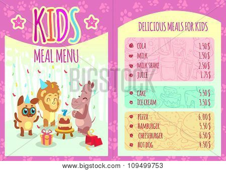 Kids meal menu with animal characters. Vector template brochure