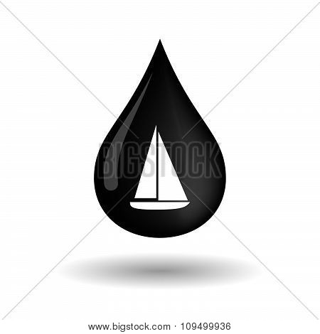 Vector Oil Drop Icon With A Ship
