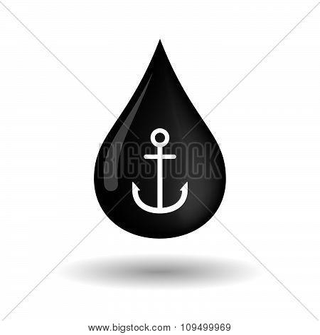 Vector Oil Drop Icon With An Anchor