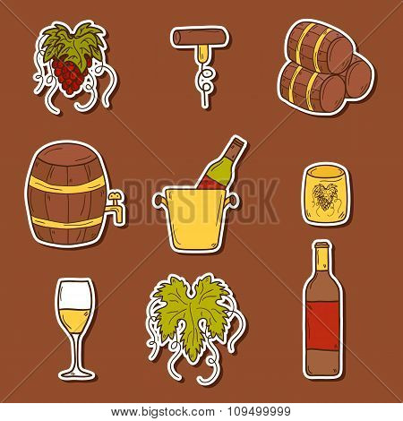 Wine hand drawn stickers