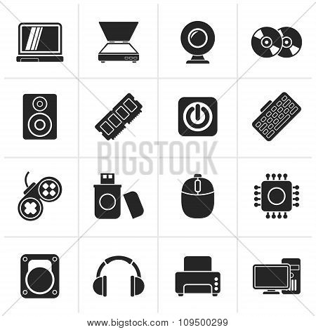 Black Computer Parts and Devices icons