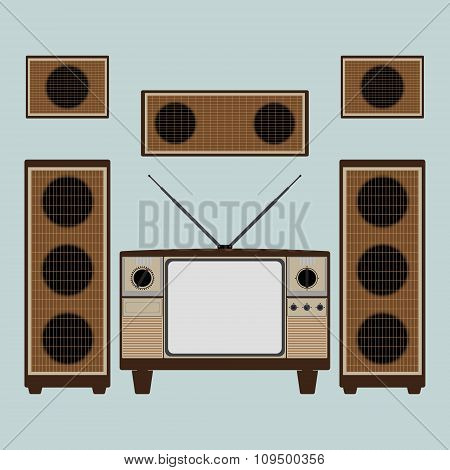 Vintage Old Brown Television With Loudspeaker And Power Amplifier On Bright Blue Background. Flat De