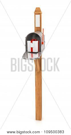 Open Mailbox With Gift Box  Isolated On White Background.