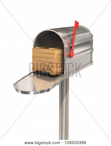 Open Mailbox With Wooden Box Isolated On White Background.