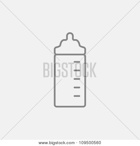 Feeding bottle line icon for web, mobile and infographics. Vector dark grey icon isolated on light grey background.