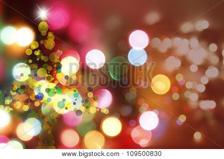 Christmas tree shape and blurred circles background