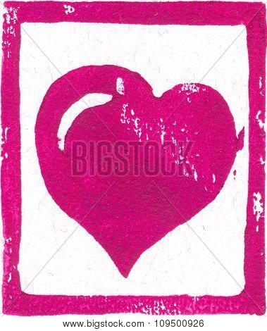 Pink-purple Heart - Linocut print