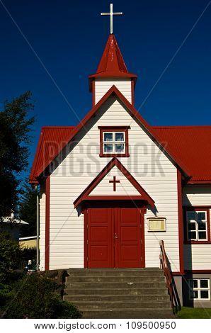 Colorful catholic church in Akureyri