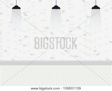 Brick Wall With Bulbs.