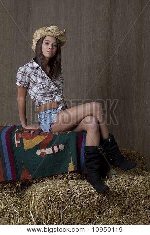 Cowgirl Sitting On Bail