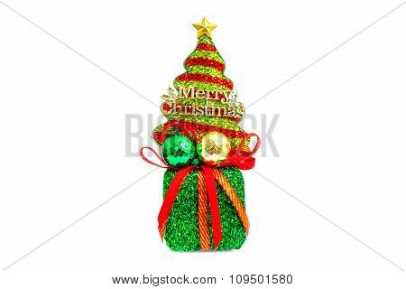 Christmas Tree On Green Gift Box. Isolated On White Background