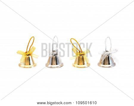 Gold And Silver Bells On White Background