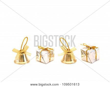 Bells And Gift Boxes On White Background