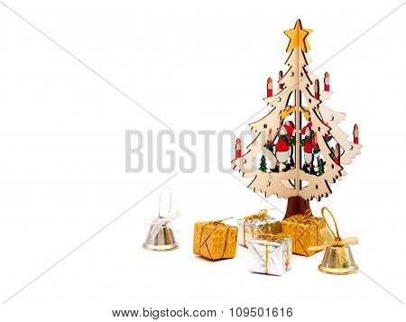 Wooden Christmas Tree With Gift Boxes And Bells