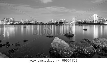 Long exposure skyline of Tokyo, black and white