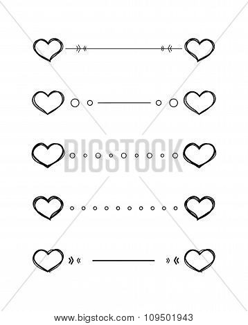 Heart dividers scribble vector borders