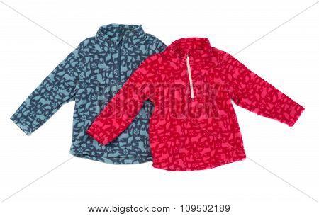 Gray And Red Fleece Jacket