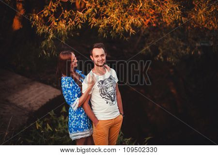 Positive Couple In Park