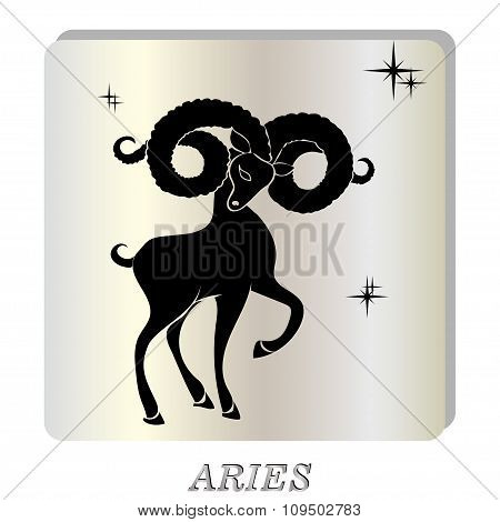 black silhouette of  aries are on  pearl background.