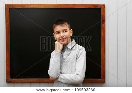 Young cute schoolboy standing at the blackboard