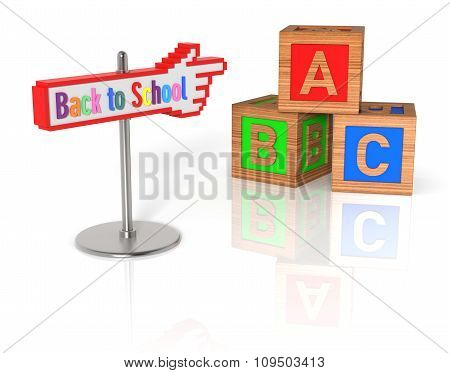 Back To School Sign With Abc Wooden Cubes