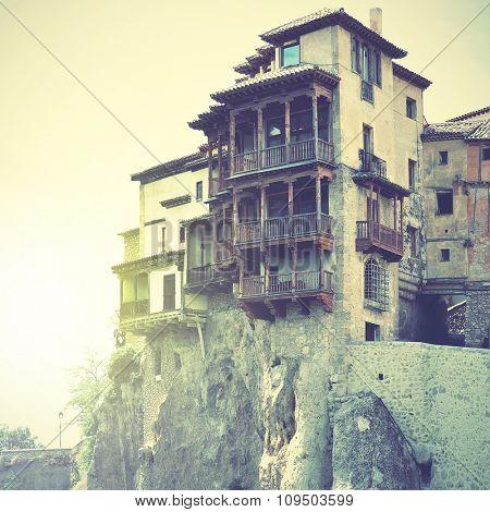 Casas Colgadas - Hanging houses in Cuenca, Spain. Instagram style filtered image