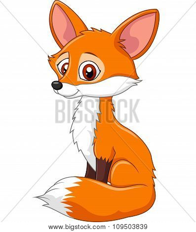 Cartoon funny fox sitting isolated on white background