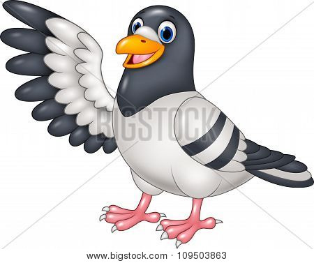 Cartoon funny Pigeon bird presenting isolated on white background