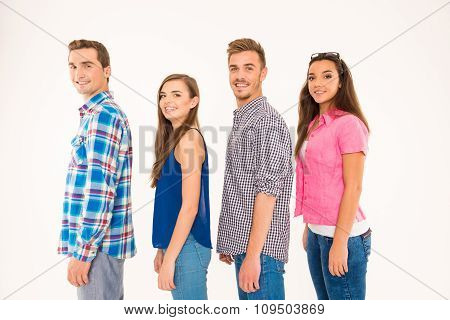 Cheerful Young People Standing In A Line