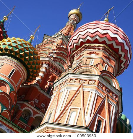 Onions domes of St. Basil's cathedral in Moscow, Russia
