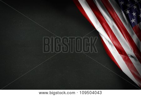 Usa flag on blackboard background