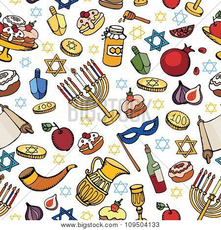 Hanukkah  seamless pattern.Doodle Jewish Holiday