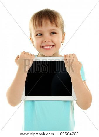 Beautiful little girl with digital tablet, isolated on white