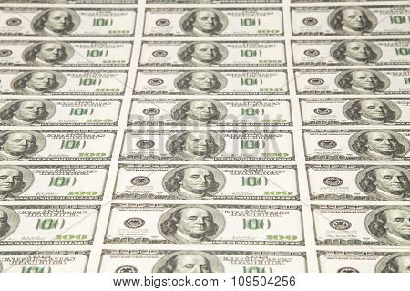 Lot of hundreds dollars bills
