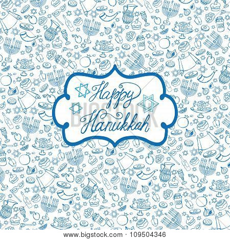 Hanukkah background,pattern.Doodle Jewish Holiday