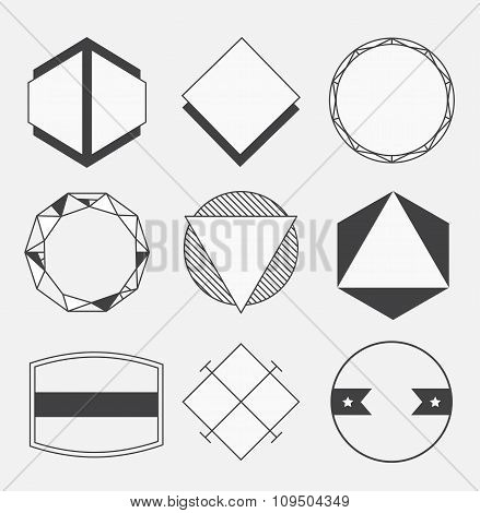 Set of blank retro vintage badges, borders, frames and labels