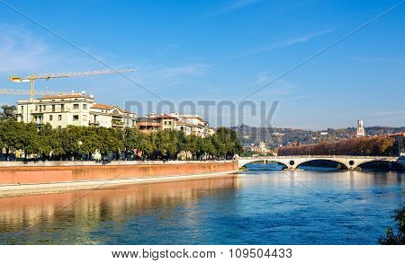 The Adige River In Verona - Italy