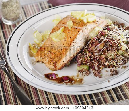 Salmon with Lemon and Red Quinoa Salad