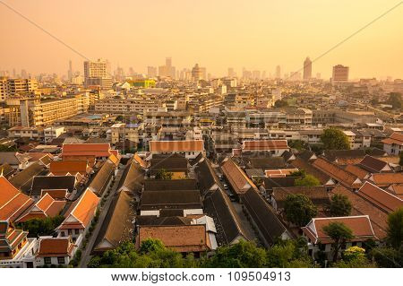 View Of Bangkok And Wat Saket