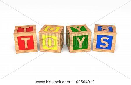Toys Alphabet Blocks. Isolated On White. 3D Rendering