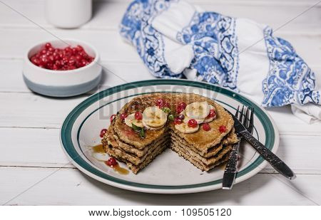 Stack of healthy low carbs oat pancakes