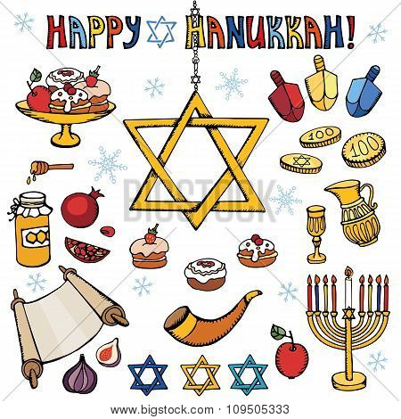 Hanukkah symbols.Doodle colored Jewish Holiday set
